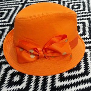 Orange fedora with bow